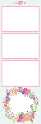 Floral Pink 3photos photobooth template