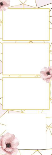Floral with Gold 3photos photobooth template