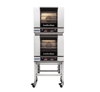 E23D3/2C - Half Size Tray Digital Electric Convection Ovens Double Stacked on a Stainless Steel Base Stand