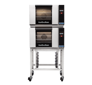 E23T3/2C - Half Size Electric Convection Ovens Touch Screen Control Double Stacked on a Stainless Steel Base Stand