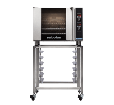 E31D4 and SK2731U Stand - Half Size Tray Digital Electric Convection Oven on a Stainless Steel Stand