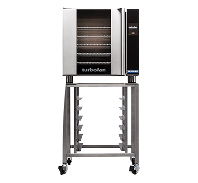 E32T4/2C - 2 x E32T4 Electric Convection Ovens Double Stacked with castor base stand