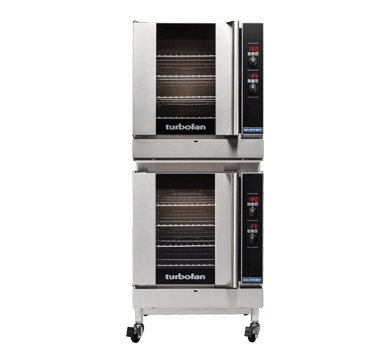 G32D4/2C - Full Size Tray Digital Gas Convection Ovens Double Stacked With Castor Base Stand