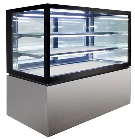 Square Glass Floor Standing HOT Food Displays