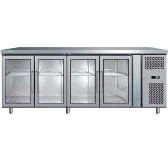 Four Glass Door Undercounter S/steel Chiller