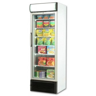 Upright Flat Glass Single Door Freezers with LED Lighting