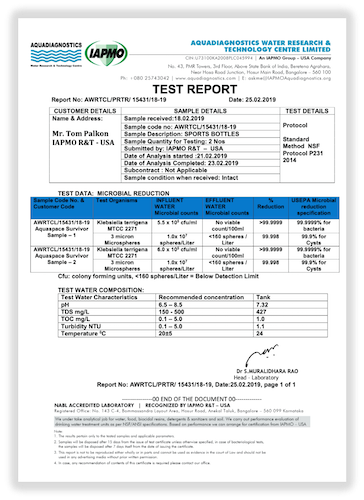 IAPMO Test Results for the Aquaspace Survivor bottle for Microbial Reduction