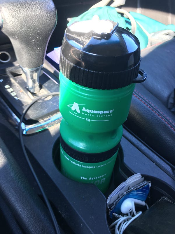Survivor bottle in cupholder