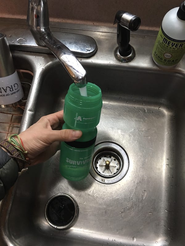 Survivor Bottle in Sink