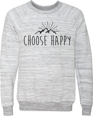 Happy Mountains Marble White Crewneck Sweatshirt