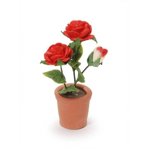 Potted Red Roses,  Red Flowers in a Pot,  Miniature Rose Plant, Shadow Box Flowers, Dollhouse Miniature Roses