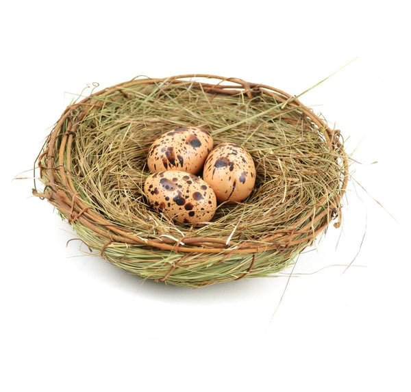Bird Nest with Eggs, Brown  Artificial  Grass Nest, Speckled Eggs in Nest, Fairy Garden Accessory