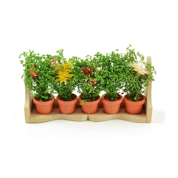 Flower Box with Wild Flowers, Potted Flowers on a Shelf, Miniature Potted Plants, Fairy Garden Plants, Fairy Garden Landscaping
