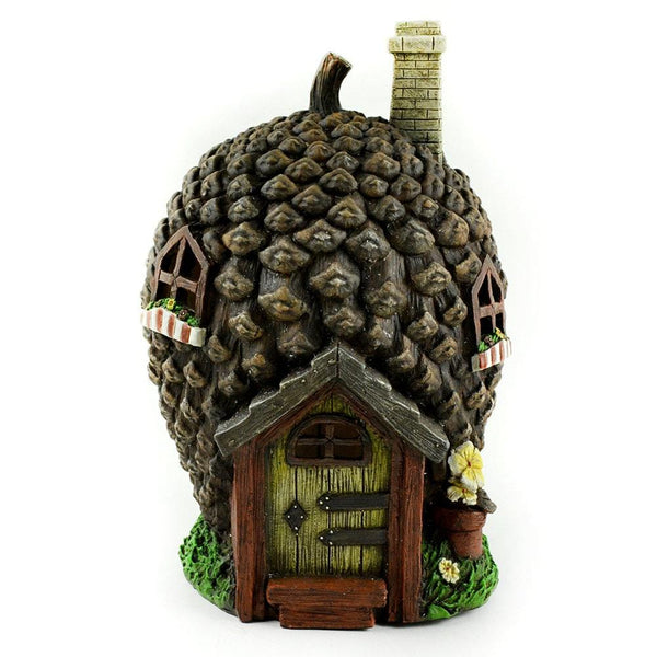 Solar Powered Pinecone Tree House, Fairy Garden Accessory, Outdoor Fairy Garden House, Fairy Garden Landscaping,