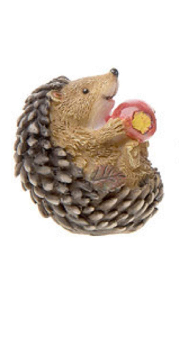 Miniature Hedgehog Eating  1 Apple,  Woodland Animal,  Gift for Collector of Mini Animals, Shadow Box Hedgehog