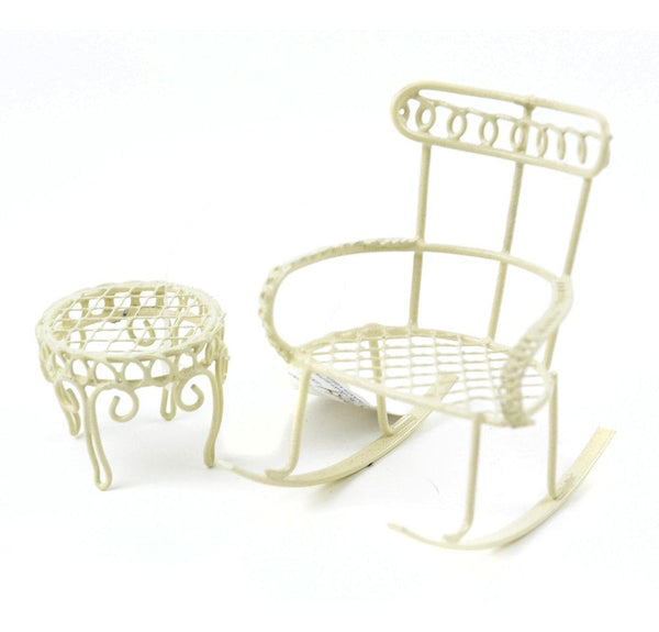 Cream Rocking Chair with Table, Fairy Furniture, Fairy Garden Accessory,  Metal Chair,  Shadow Box Chair Set,