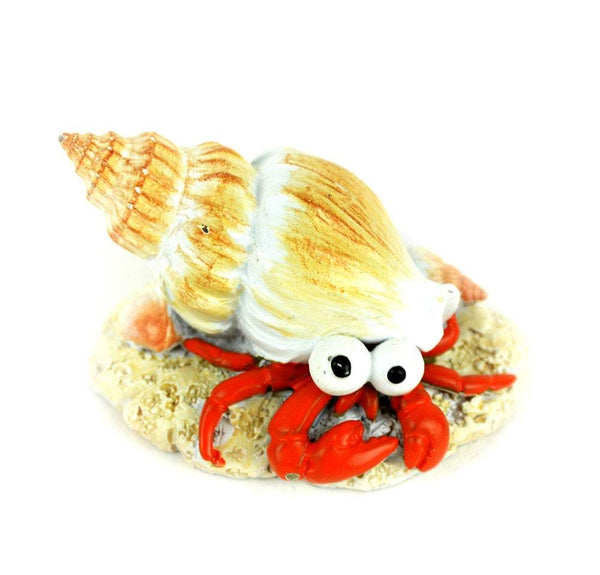 Crab in Tan Conch Shell, Ocean Animal, Miniature Beach Accessory, Hermit Crab Miniature. Gift for Crab Collector, Beach Cake Topper