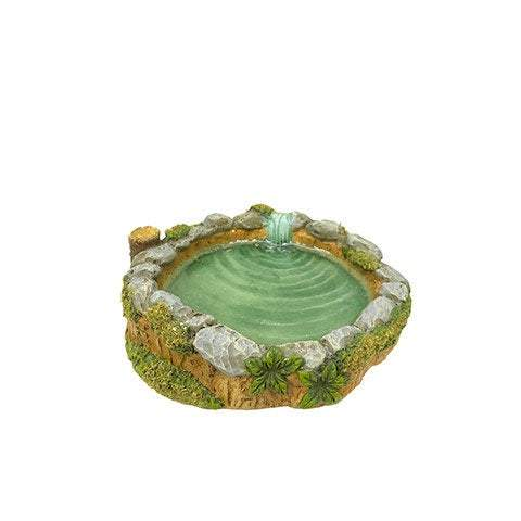 Pond with Faux Rock and Moss Accents,  Fairy Garden Pond, Fairy Pond Landscaping,  Fairy Garden Miniature Pond, Terrarium Pond