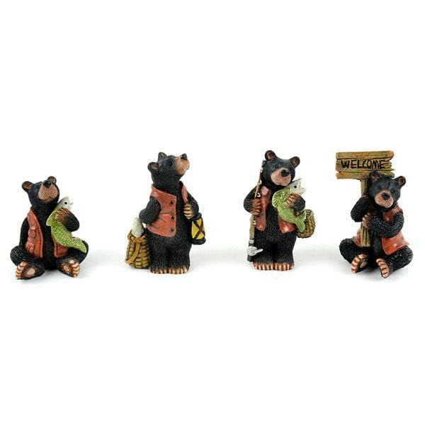 Black Bear Standing with Fish,  Black Bear with Pole, Fisherman Bear, Woodland Bear, Gift for Fisherman/ Bear Collector, Bear Cake Topper