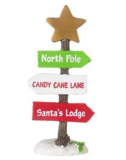 Christmas Miniature Sign,  Santa Sign, Christmas  Decor, North Pole, Holiday Garden Miniature,  Wreath Decoration, Snowy Garden