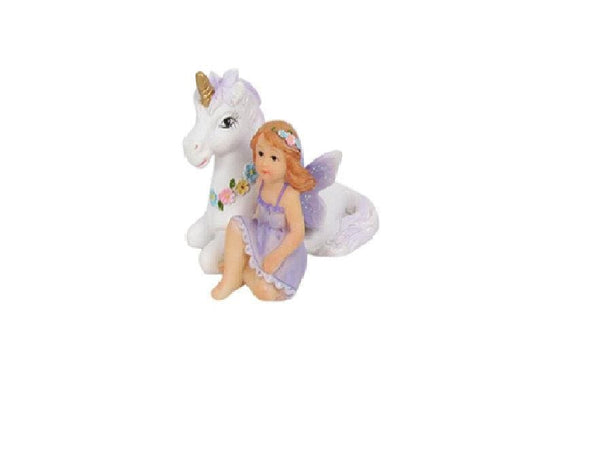 Miniature Unicorn with Purple Fairy, Fairy Tale Princess with Unicorn, Storybook Fairy, Unicorn Cake Topper, Birthday/Holiday Gift for Girls