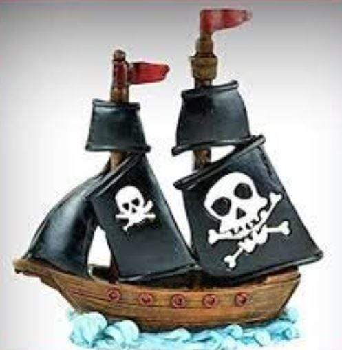 Pirate Ship with Black Sails, Beach Fairy Garden Accessory,Pirate Theme Cake Topper