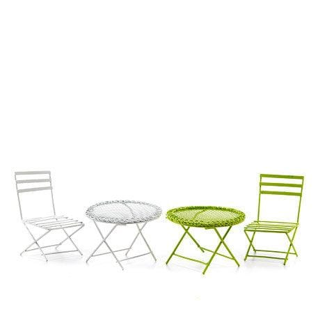 Miniature White or Green Table and Chair Set, Outdoor Fairy Garden Furniture