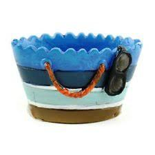 Blue Striped Beach Bag, Ocean Landscaping, Fairy Garden Accessory