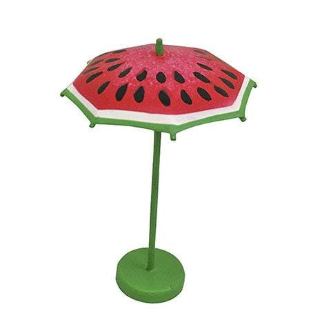 Outdoor Metal Watermelon Table, Stools and Umbrella, Painted  Fairy Garden Patio Furniture, Metal Table Set