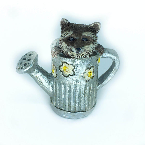 Raccoon in Watering Can, Ricky the Raccoon, Fairy Garden Animal, Fairy Garden Accessory