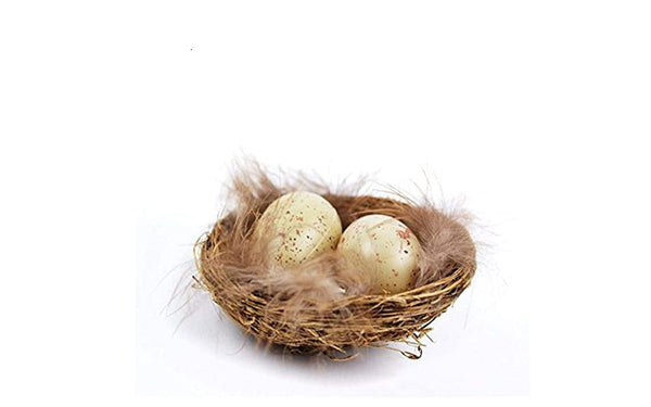 Brown Bird Nest with 2 Eggs and Feathers,  Artificial  Grass Nest, Speckled Eggs in Nest, Fairy Garden Accessory