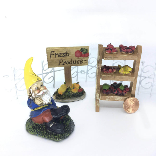 Gnome Fruit Market Fairy Garden Kit,  Gnome Fairy Garden Kit,  Fresh Produce for Sale