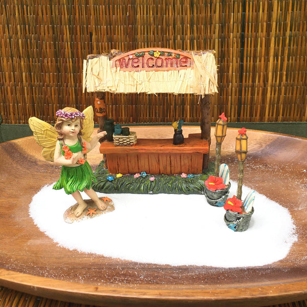 Fairy Garden Kit with Hula Fairy in Green, Island Fairy Garden Starter Kit, Hawaiian Beach Theme Fairy Garden Kit, Beginner Fairy Garden Set