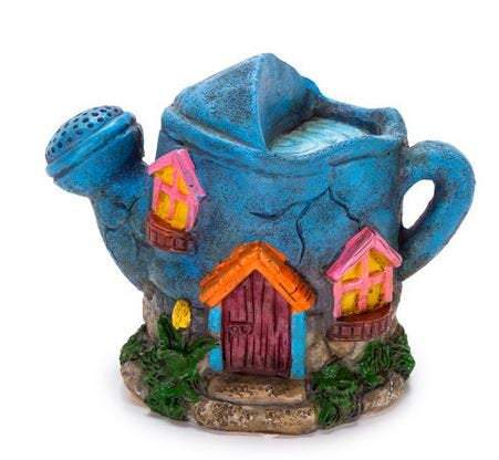 Miniature Blue Watering Can House, Fairy Garden House, Whimsical Gardener's Miniature House