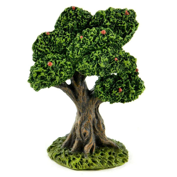 Apple Tree, Rain Forest Tree,  Miniature Tree with Green Leaves and Red Berries, Fairy Garden Accessory
