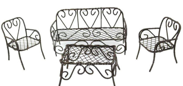 Miniature Brown Outdoor Furniture Set, Fairy Furniture, Rustic Table and Chairs, 4 Piece Furniture Set