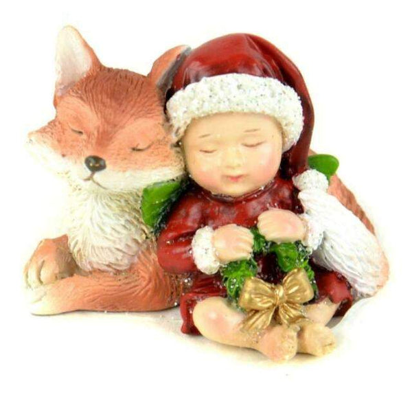 Miniature Christmas Baby Snuggling Fox Figurine,  Christmas Decoration, Fairy Garden Holiday Accessory