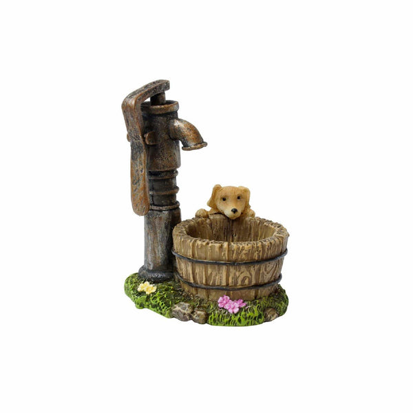Puppy and Well, Miniature Water Well, Mini Manual Pump Well, Puppy by a  Barrel