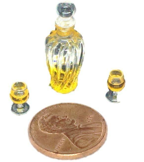 Miniature Dollhouse Decanter,  Dollhouse Bar Drink and  Brandy Snifters, Wine Glasses
