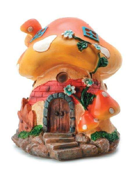 "Orange Topped Mushroom House,  6"" Mushroom Fairy Garden House, Birthday or Holiday Gift Idea, Table Centerpiece"