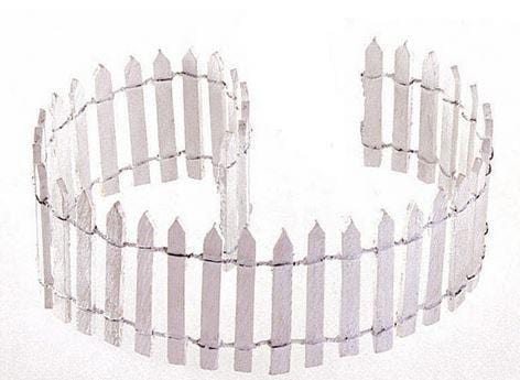 "2"" White Wood Picket Fence, Country House Border, Fairy Garden Landscaping, Gnome House Border,  Farm Fencing, Animal Pen"