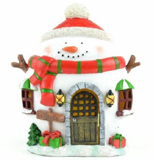 "Miniature LED Snowman House, 8"" Winter Fairy Garden House,  Holiday Centerpiece, LED Snowman House"
