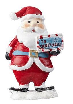 Santa Figurine, Santa Holding a Letter, Jolly Old St Nick Figurine,  Holiday Miniature,  Christmas Gift, Christmas Cake Topper