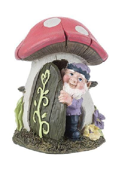"Fairy Garden Mushroom House, Garden House with Gnome, 5"" High Fairy Garden House, Fairy Garden Accessory"