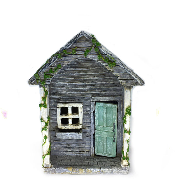 Oakland Way Hinged Door Country House, Fairy Garden Home with Green Door, Country Cottage, Fairy Garden House, Birthday/Holiday Gift