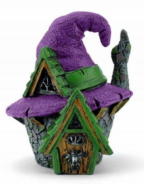"3"" Micro Miniature Witch Hat House, Halloween Fairy Garden House, Fall Terrarium House, Purple Witch Hat House"