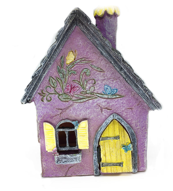 Purple Fairy Miniature House, Brookside III Country House, Hinged Door House, Fairy Garden House, Birthday/Holiday Gift