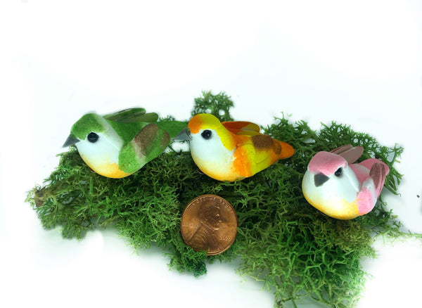 "Yellow, Pink and Green Winged Birds, 2"" Birds on a Clip,  Fairy Garden Birds for Nests,  Plants and Trees"