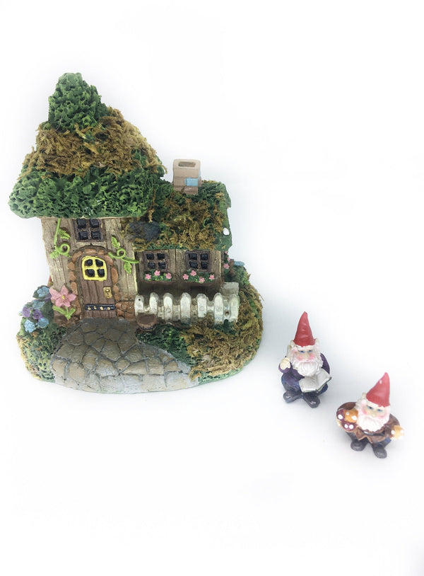 Moss Covered Cottage with 2 Mini Gnomes Set,  Fairy Garden Gnome Kit, Terrarium House