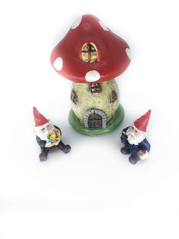 Mushroom House with Mini Gnomes,  Micro Mini House with Gnomes,  Terrarium House